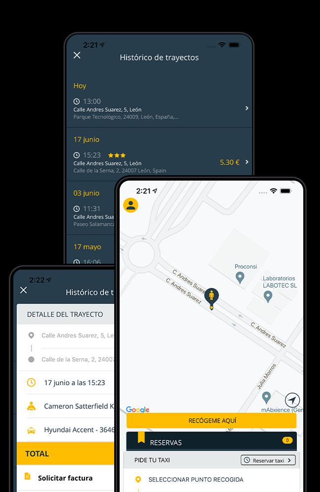Imagen de la pantalla de Solicitar Taxi